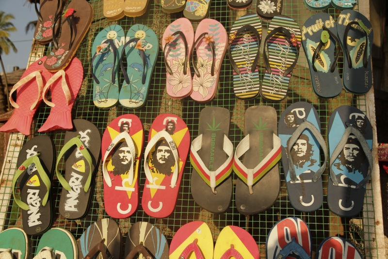 Slippers with Che's image at Varkala Beach in Thiruvananthapuram, Kerala. (Photo credit: Shawn Sebastian).
