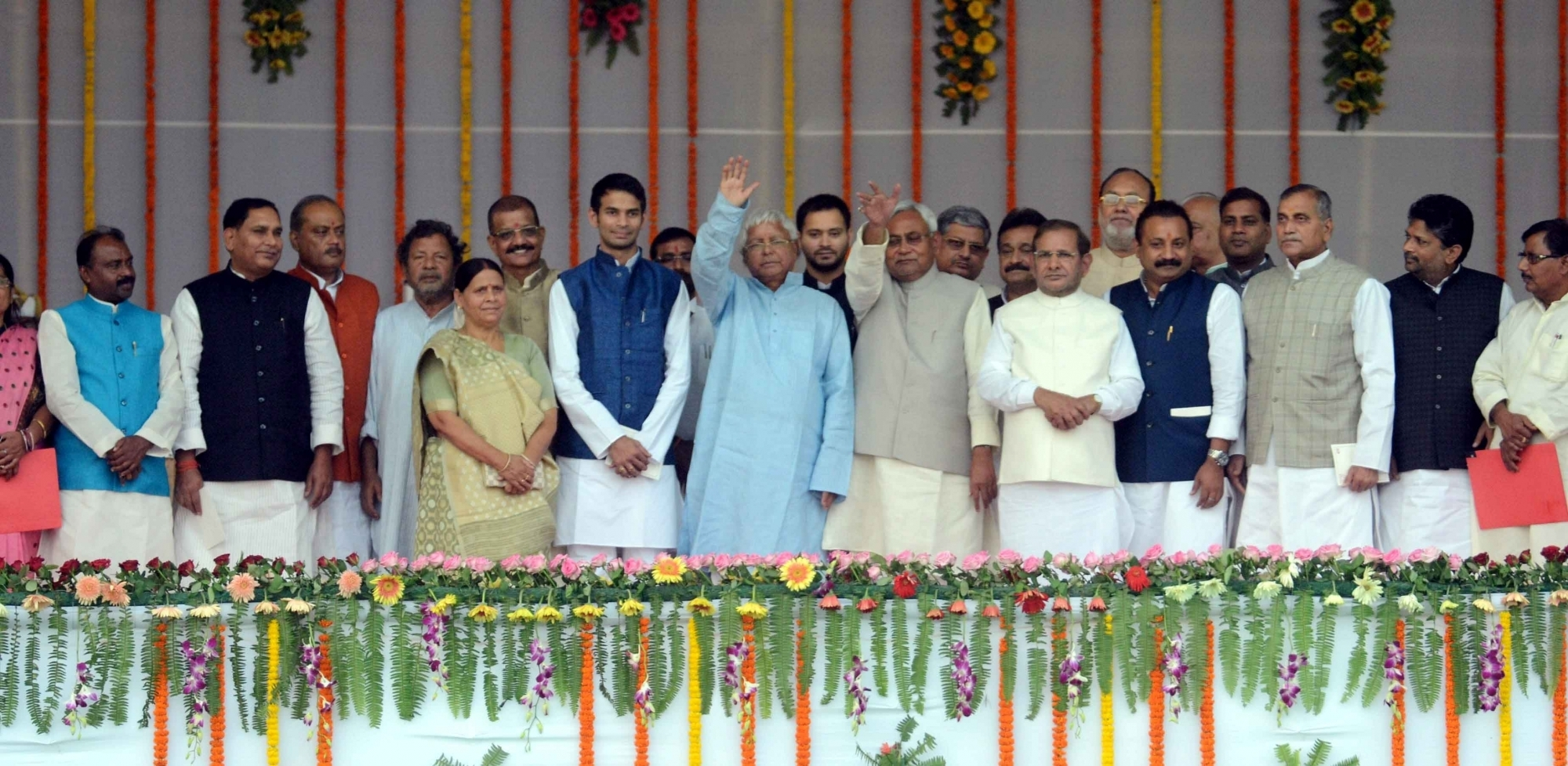 Nitish Kumar and Lalu Yadav at the swearing-in ceremony of the new JD(U)-RJD-Congress coalition government in Patna, on Nov 20, 2015. Photo Credit: IANS