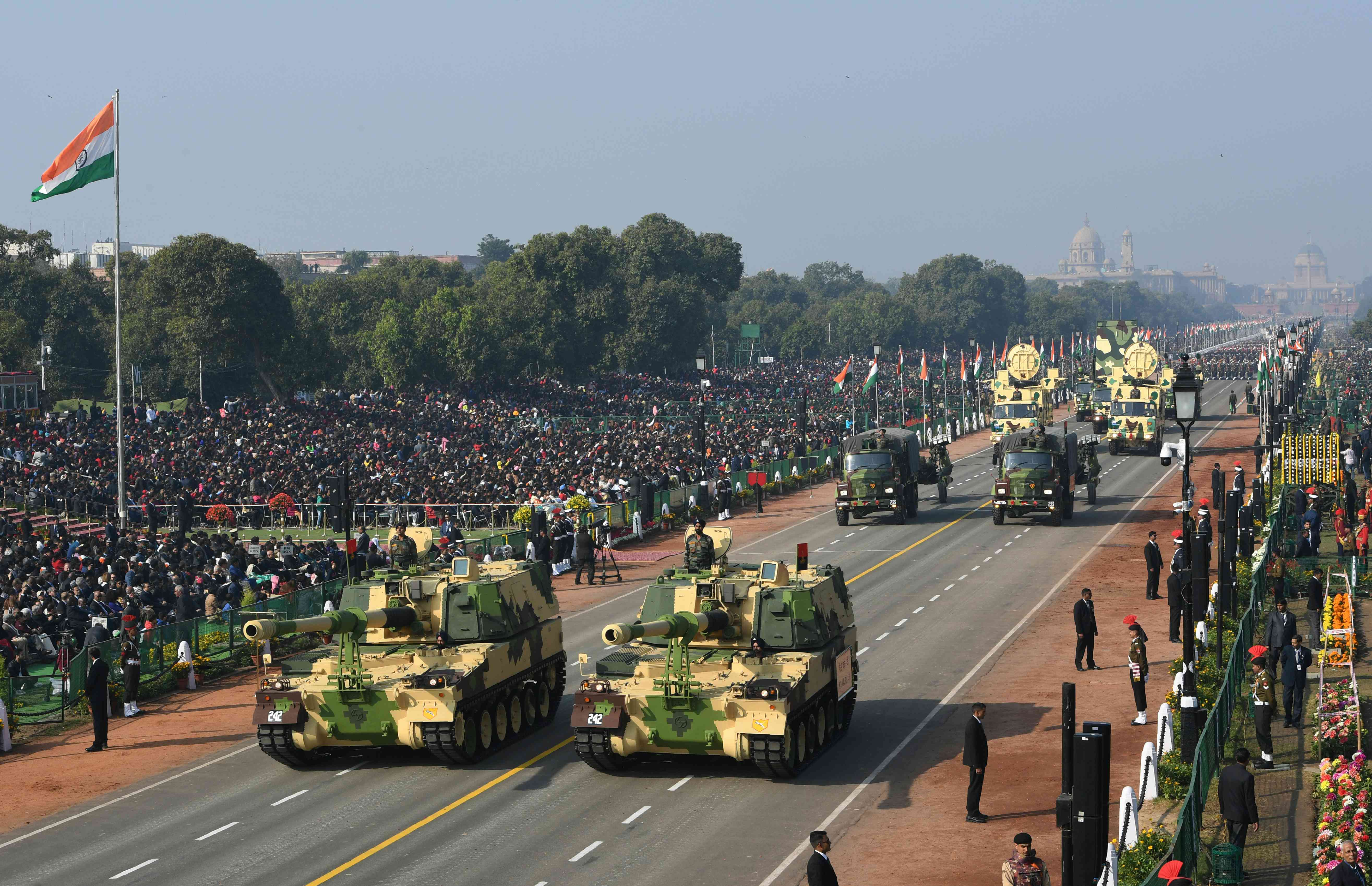 ndian army K9 Vajra-T tanks take part in the Republic Day parade in New Delhi (Photo credit: AFP)
