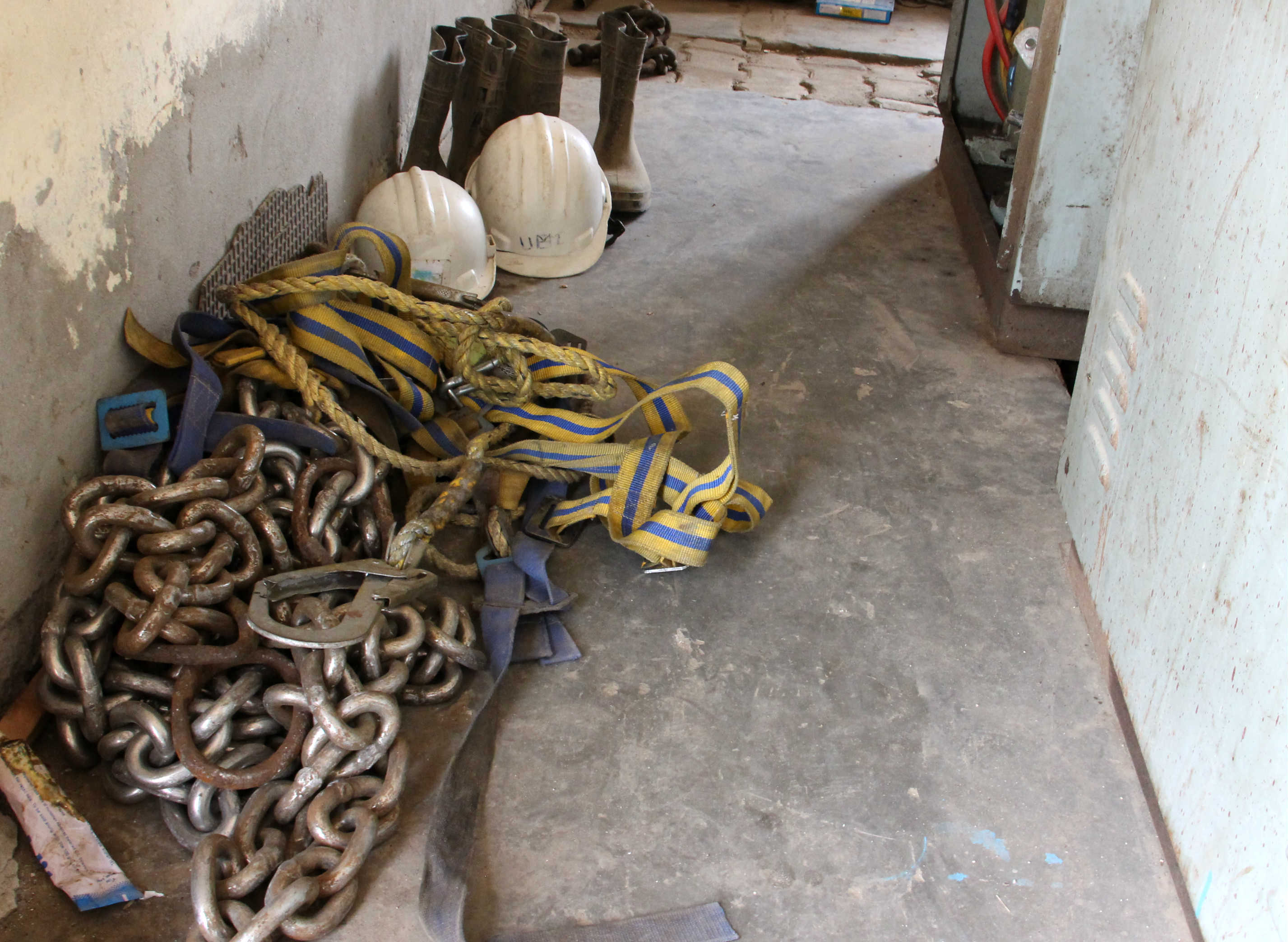 Safety equipment lying inside the store room at the Loni pumping station. Photo credit: Aabid Shafi