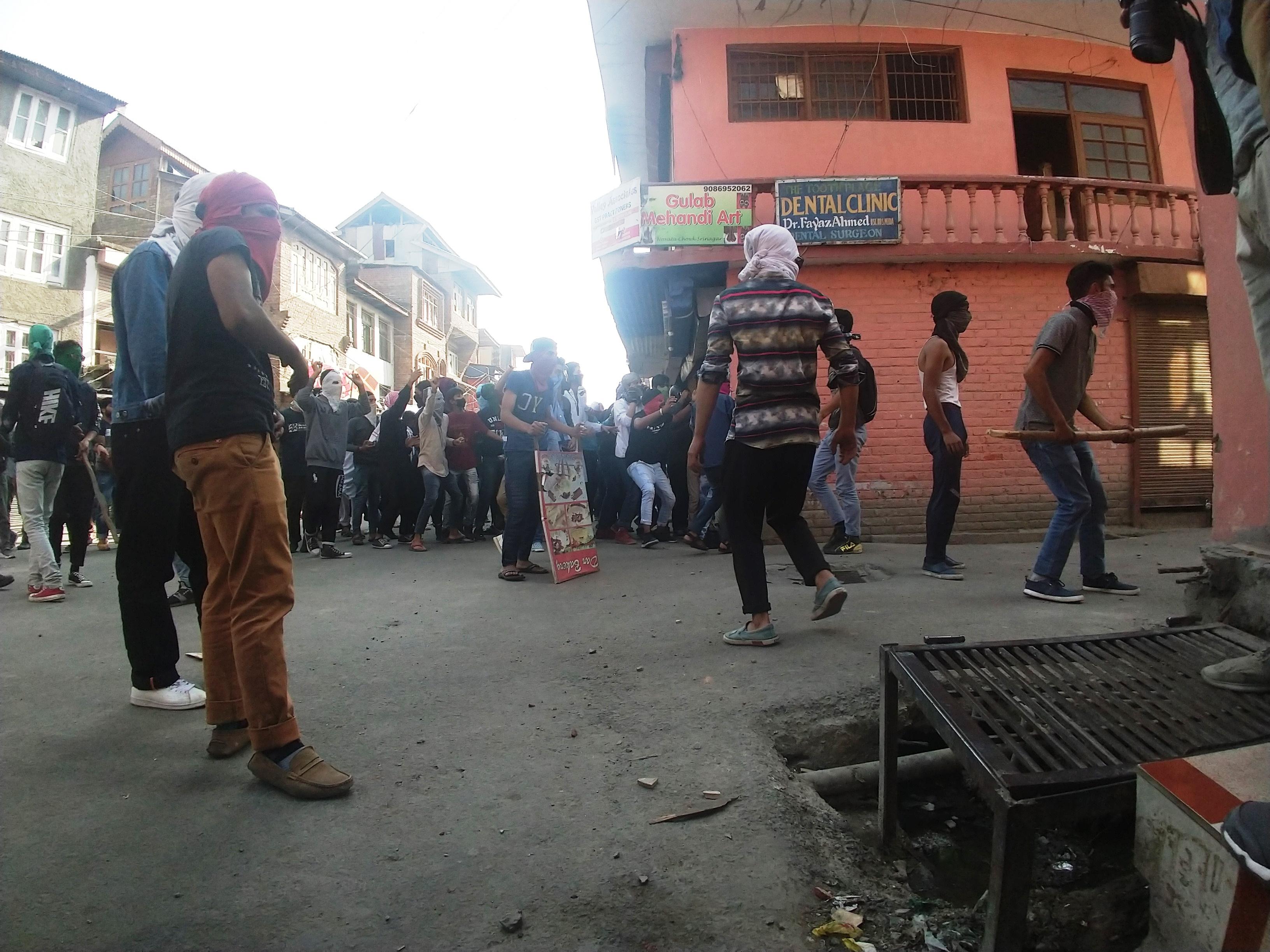 Protestors in downtown Srinagar on Friday. Credit: Rayan Naqash