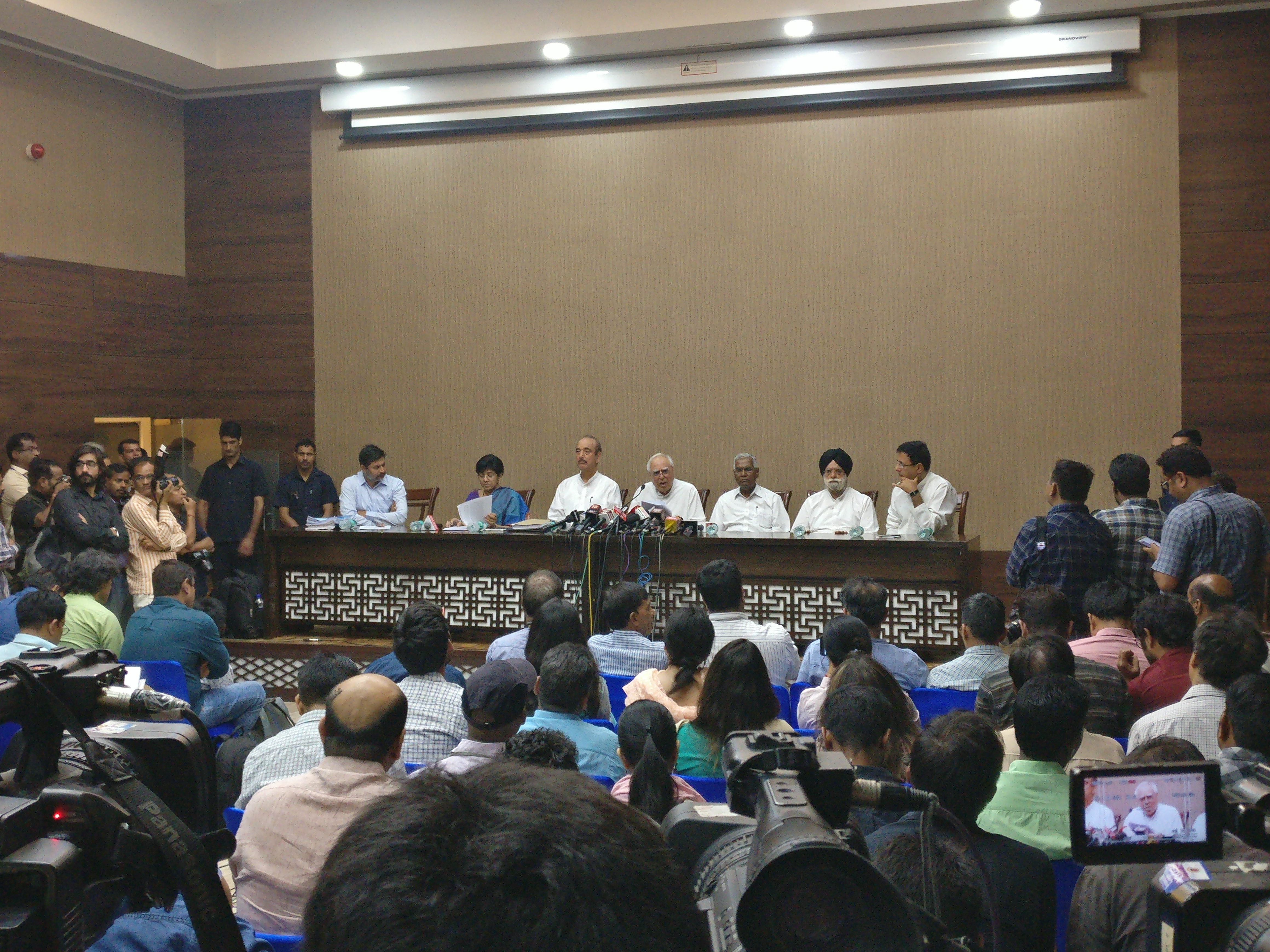 Opposition leaders at the press conference in New Delhi on Friday | Credit: Rohan V/Scroll.in