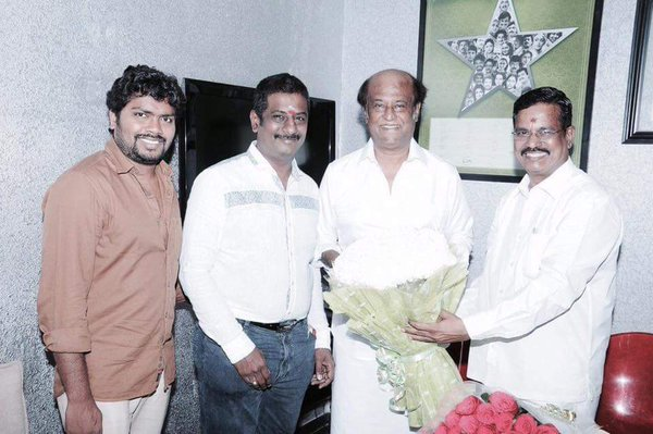 (L-R) Pa Ranjith, D Paranthaman, Rajinikanth and S Thanu.
