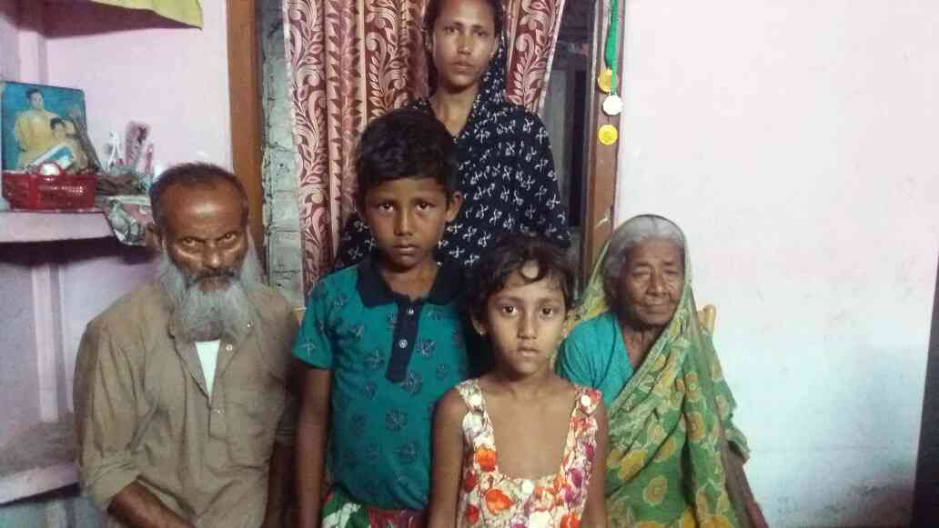 The family of Kitfur Rahman, a migrant daily wage worker who has been detained in Jorhat.