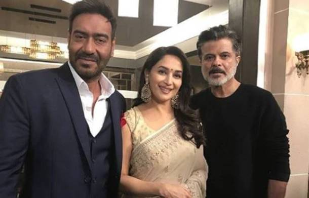 Ajay Devgn, Madhuri Dixit and Anil Kapoor on the sets of Total Dhamaal.