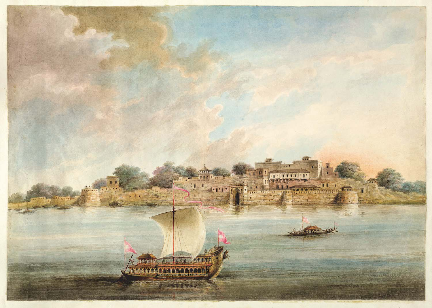 The Raja of Benares's palace at Ramnagar, with his state boat on the river.