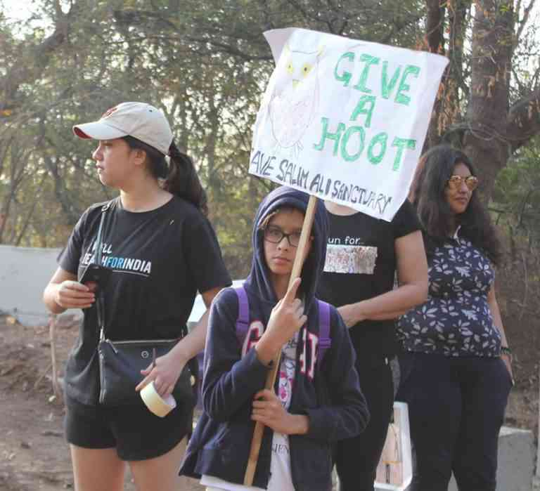Youth at a protest march in support of protecting the Salim Ali sanctuary. Photo courtesy Dr Salim Ali Bird Sanctuary Pune.