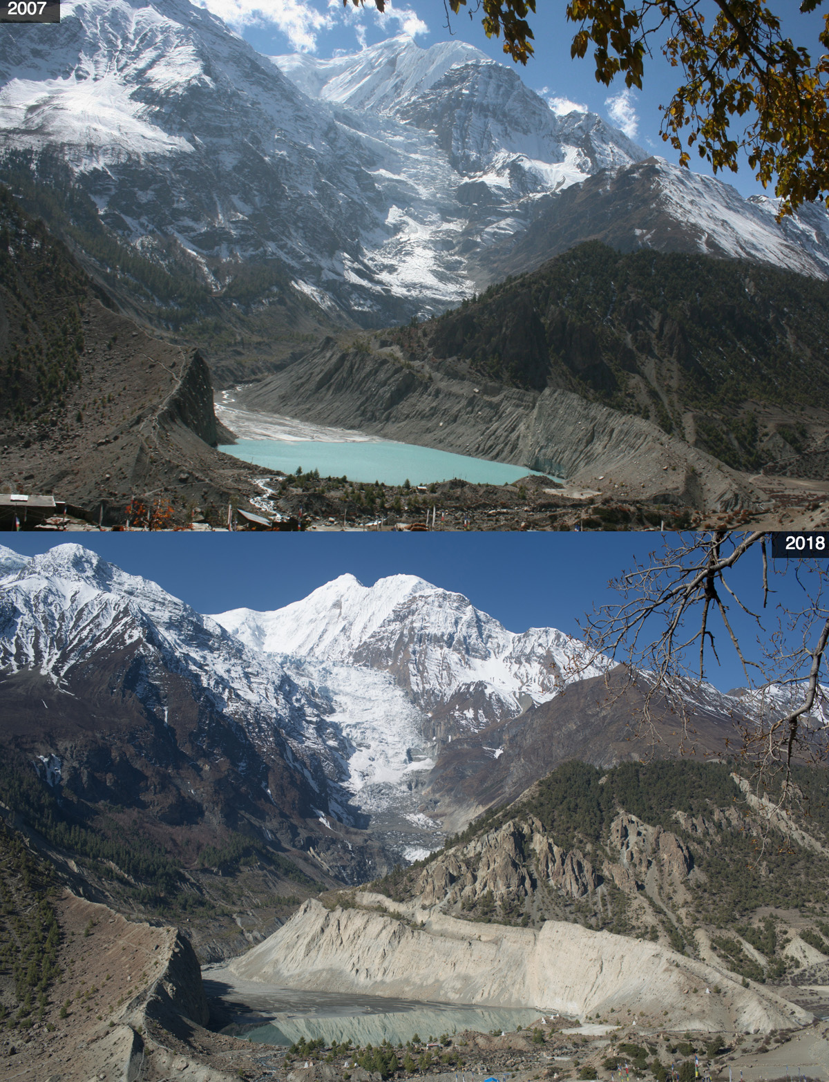 Mount Gangapurna, glacier and lake. Photo credit: Nabin Baral
