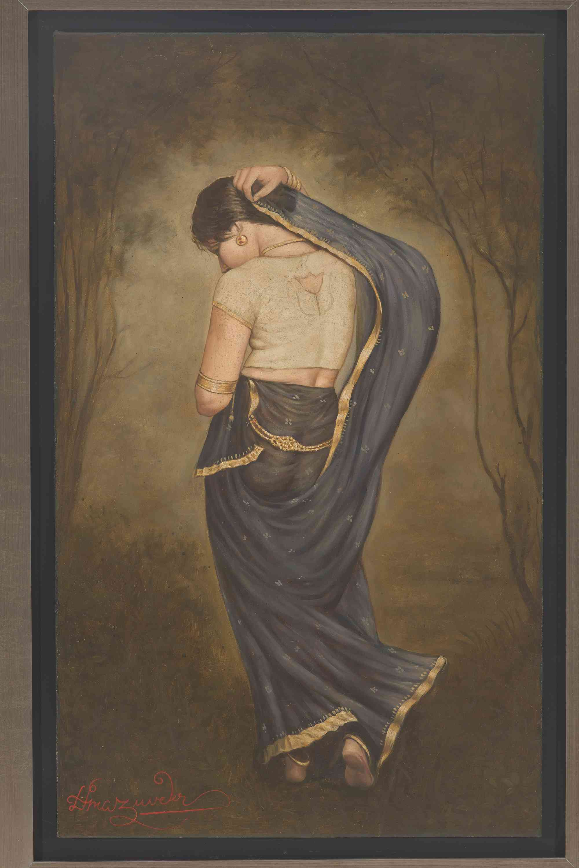 'Blue Swari', 81x49.3 cm, oil on canvas. Image courtesy: Kumar Collection.