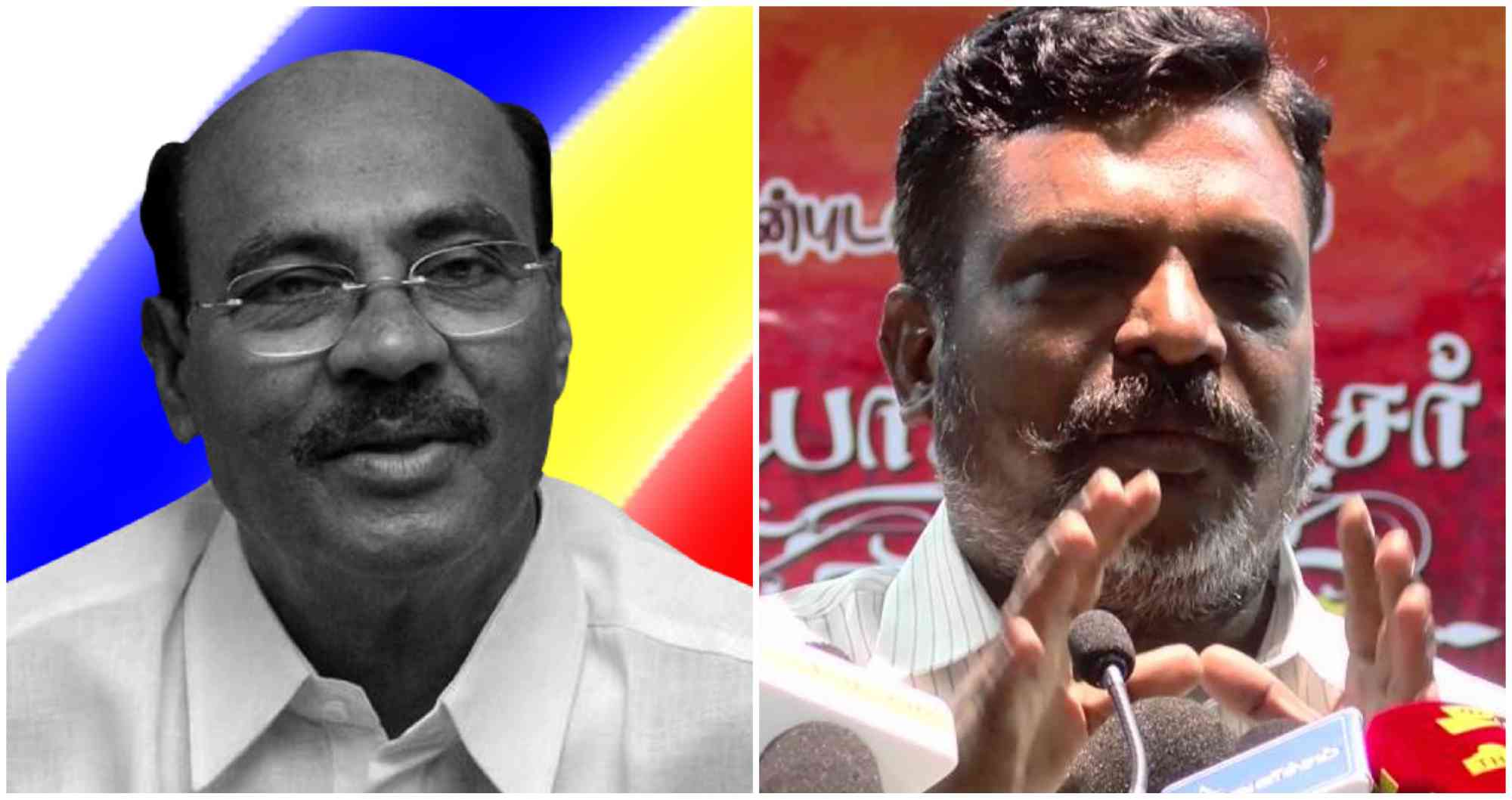 S Ramadoss (left) of the Pattali Makkal Katchi and Thol Thirumavalavan of the Viduthalai Chiruthaigal Katchi.