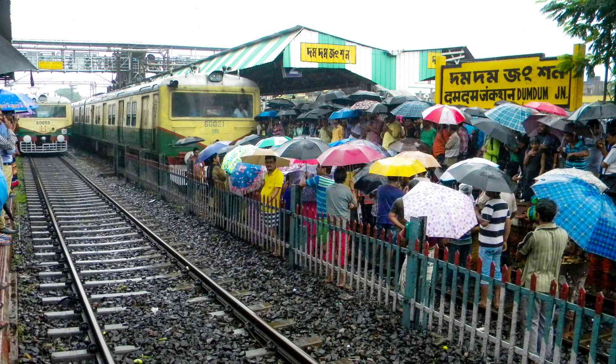 The All India Matua Mahasangha organised a rail blockade in a Kolkata suburb in August 2018 to protest against the exclusion of the Matuas from the NRC draft in Assam. Photo credit: IANS