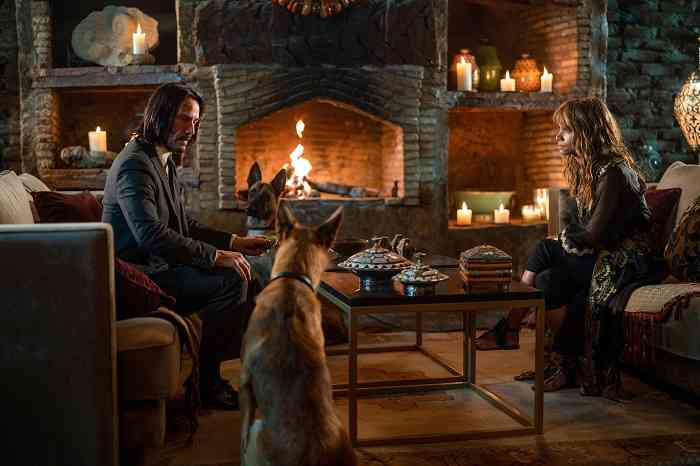 John Wick (Keanu Reeves) and Sofia (Halle Berry) in John Wick: Chapter 3 – Parabellum. Courtesy Thunder Road Pictures/87Eleven Productions.