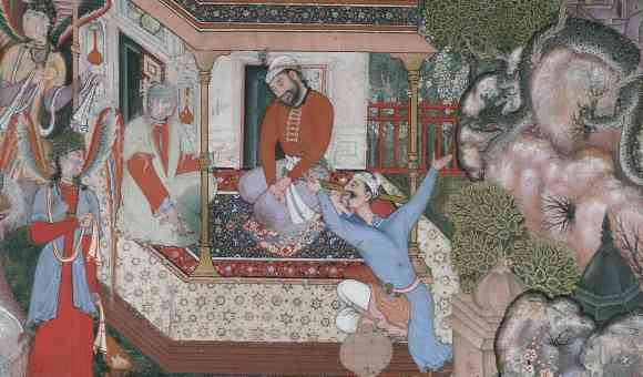 In this illustration, Hamza is deep in coversation with a demon called Hura, unaware that a dragon is approaching from behind rocks to the right. Hamza's close companion, 'Umar Umayya, gesticulates wildly to warn Hamza. . Victoria & Albert Museum, IS. 1505-1883