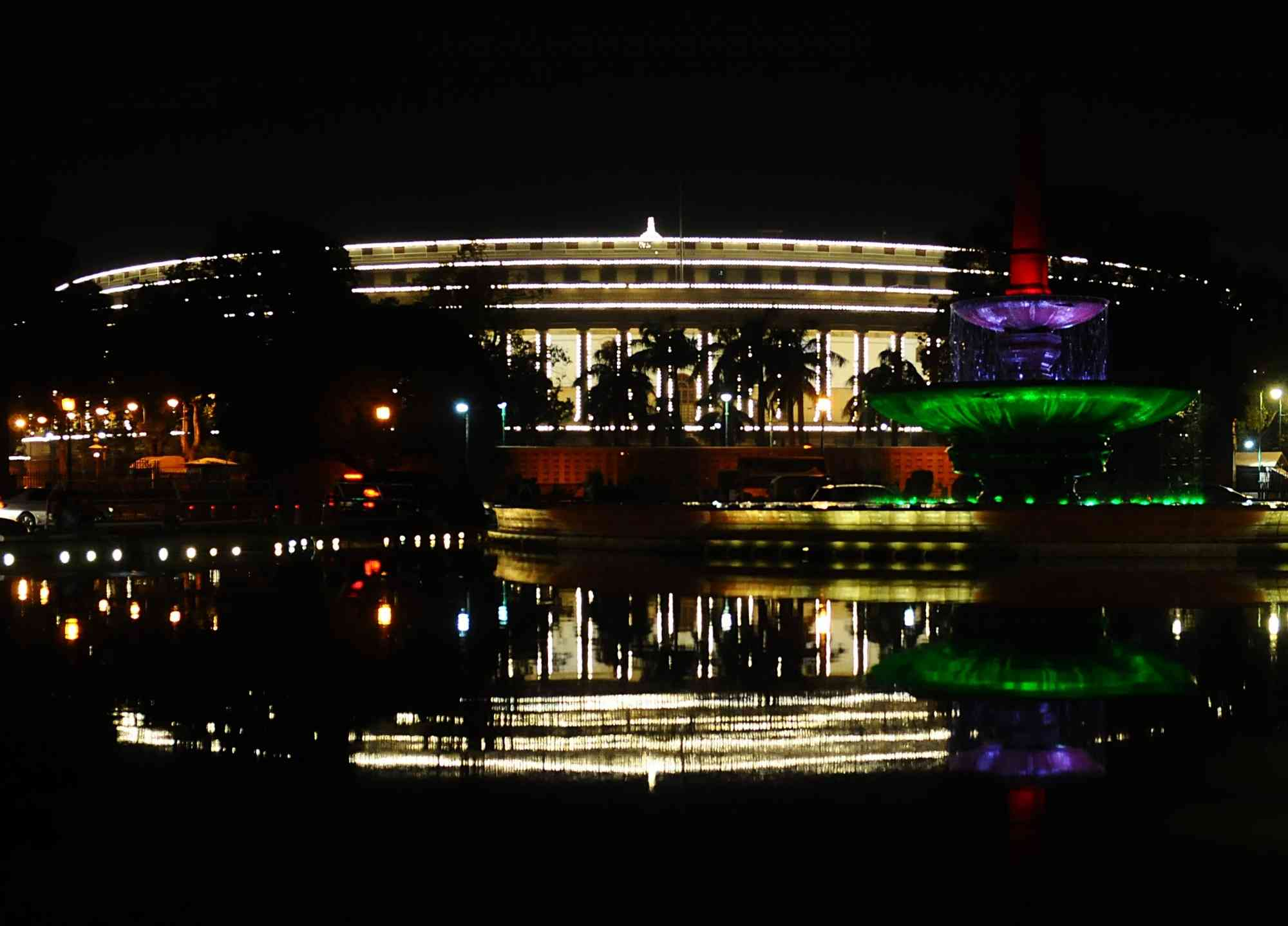 The Indian Parliament is illuminated on Republic Day in New Delhi on Saturday (Photo credit: IANS)