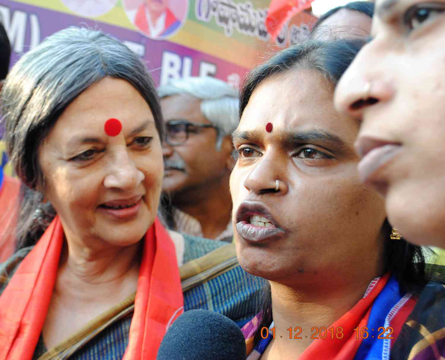 Chandramukhi Muvvala with Brinda Karat, politburo member of the Communist Party of India (Marxist), who visited her on Saturday to extend solidarity.