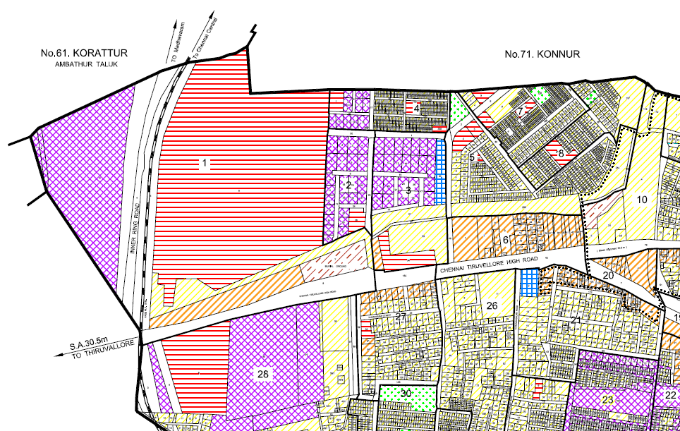 The plot with horizontal red lines marked '1' on the land use map is the Konnur Lake.    Credit: CMDA Masterplan 2008