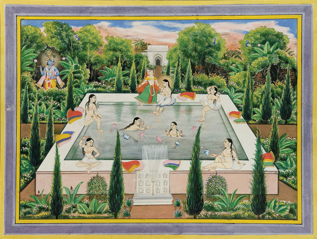 04297db42 Art work depicting lord Krishna watching women at a garden pool (image from  Wikimedia Commons