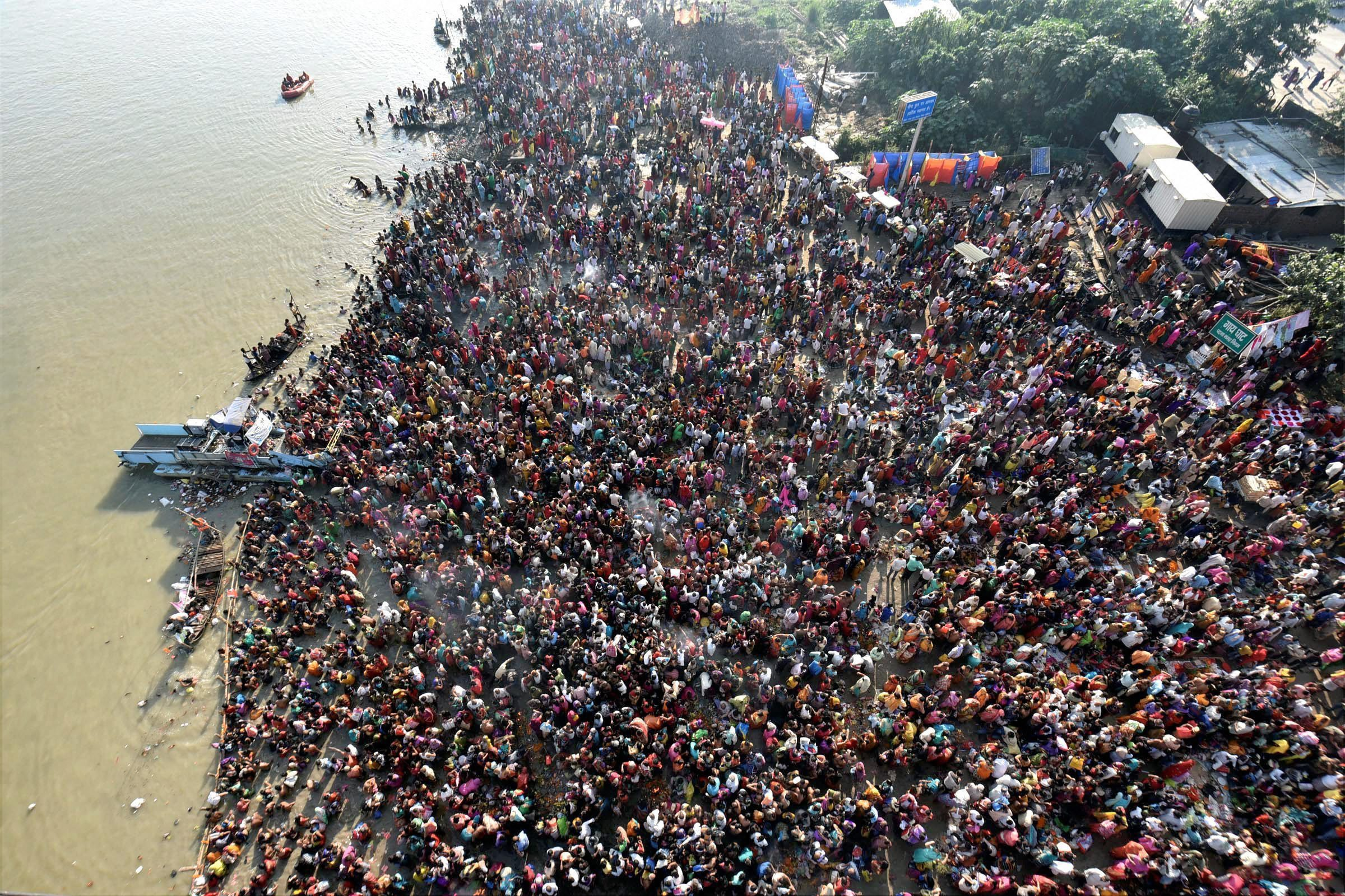 Kartik Purnima brings scores of devotees to the Ganga in Patna. (Credit: PTI)