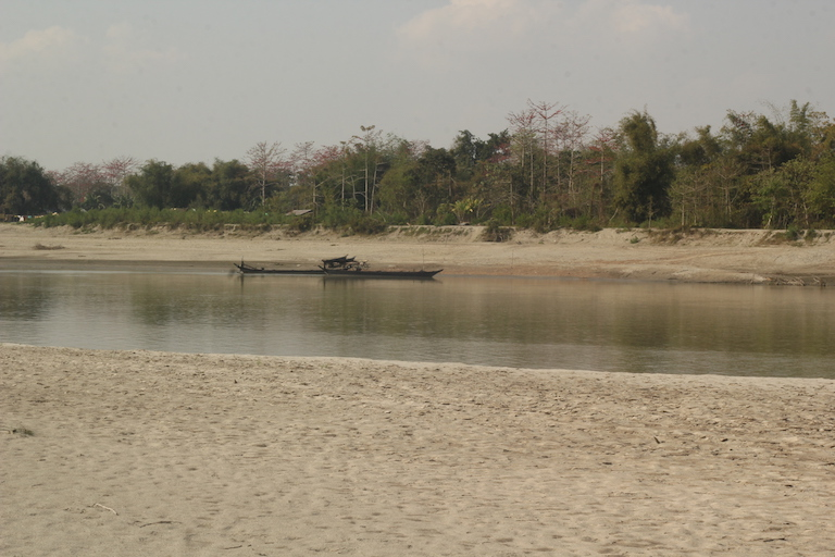 A view of the forest cover on Aruna Chapori from across the river. Until the 1980s, it was a barren sandbar without any vegetation. Photo Credit: Bikash Kumar Bhattacharya