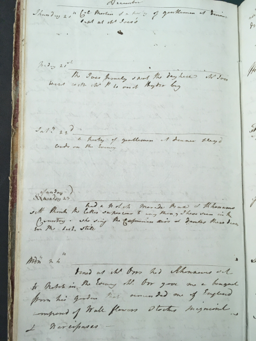 Entry in Sophia's diary for 23rd December 1787: her first encounter with Khanum Jan (BL Mss Eur F127/94)