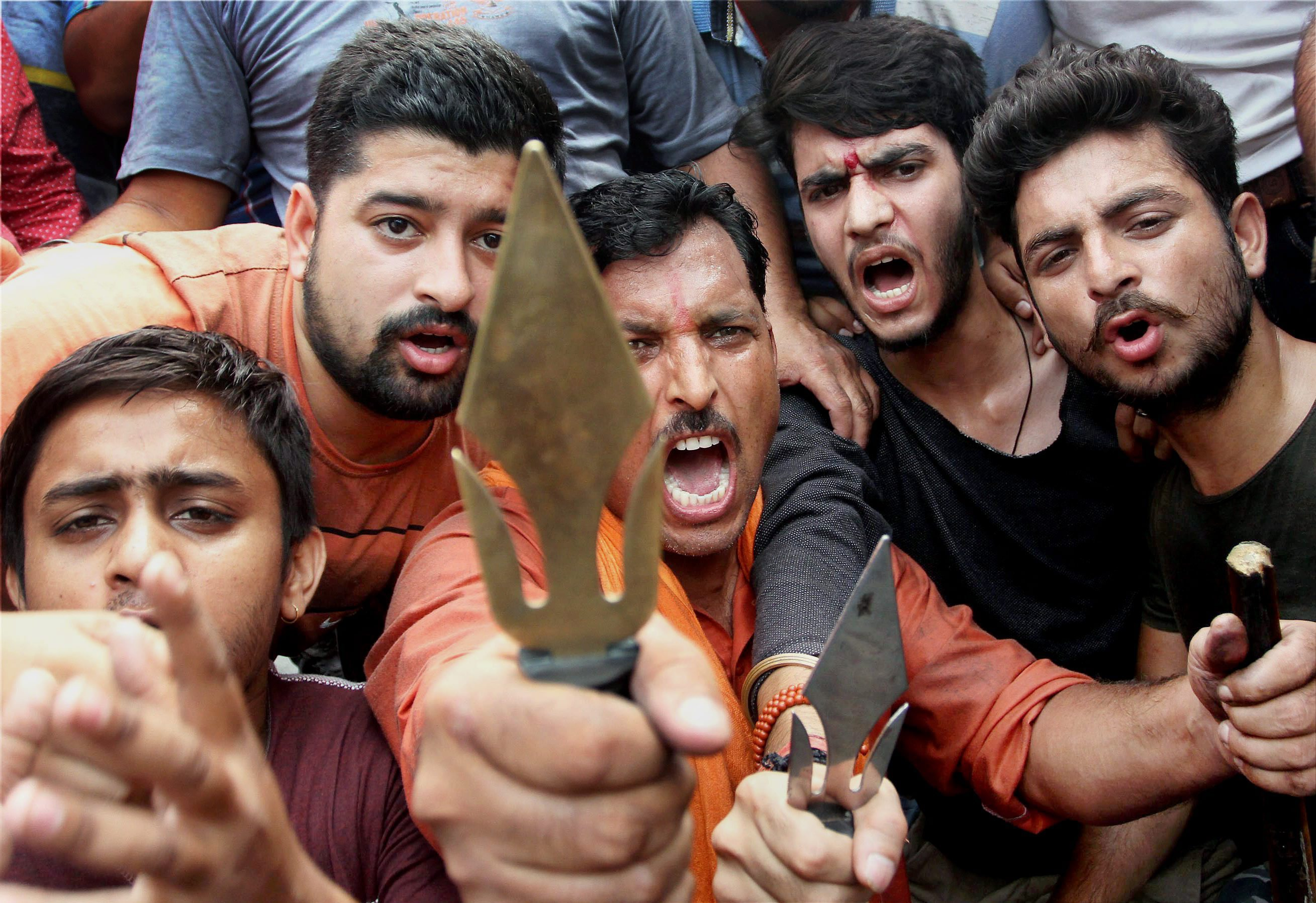 Bajrang Dal activists protest in Jammu (Credit: PTI)