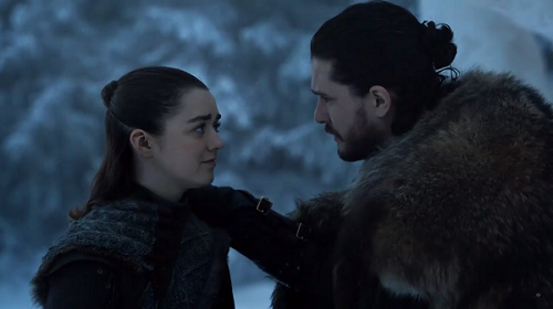 Arya Stark (Maisie Williams) and Jon Snow (Kit Harington) in Game of Thrones. Courtesy HBO.