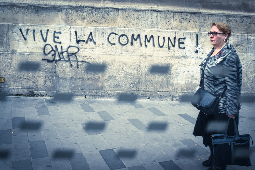 A graffiti reviving the memory of the 1870 Paris Commune near the Place de la République, April 2016.