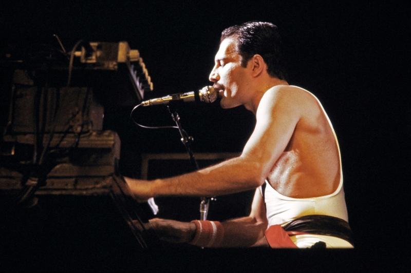 The rockstar Freddie Mercury, lead singer of the rock group Queen, during a concert in Paris, France, in September 1984. (Photo credit: AFP/Jean-Claude Coutausse).