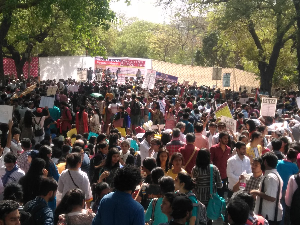 Participants of the March4Education in Delhi on March 28. (Credit: Rama Naga / Twitter).
