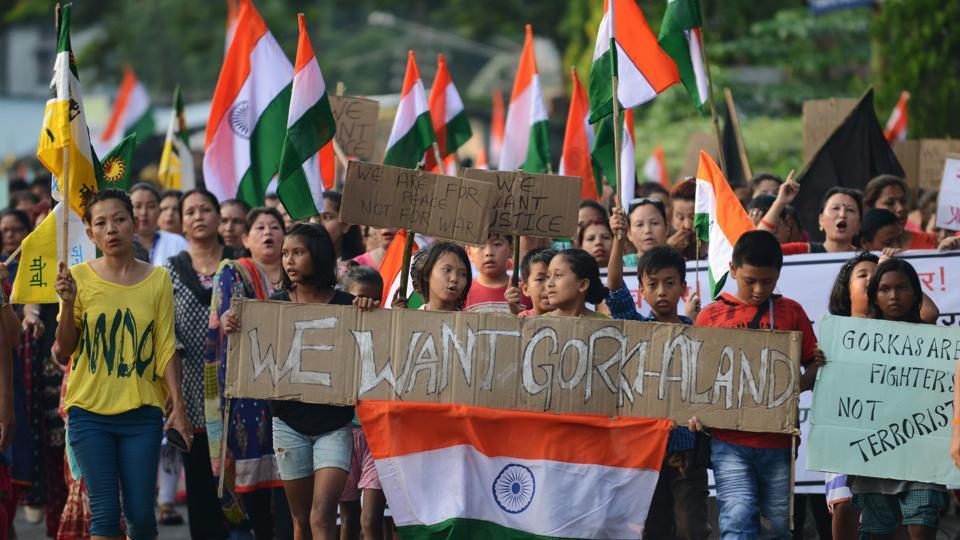 Participants in a rally for Gorkhaland in 2017. Credit: AFP