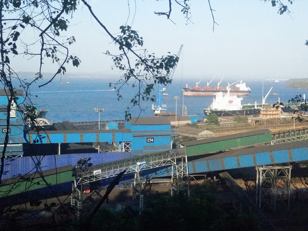 A view of the cargo ships docked at the Mormugao Port Trust. Photo credit: Nihar Gokhale.
