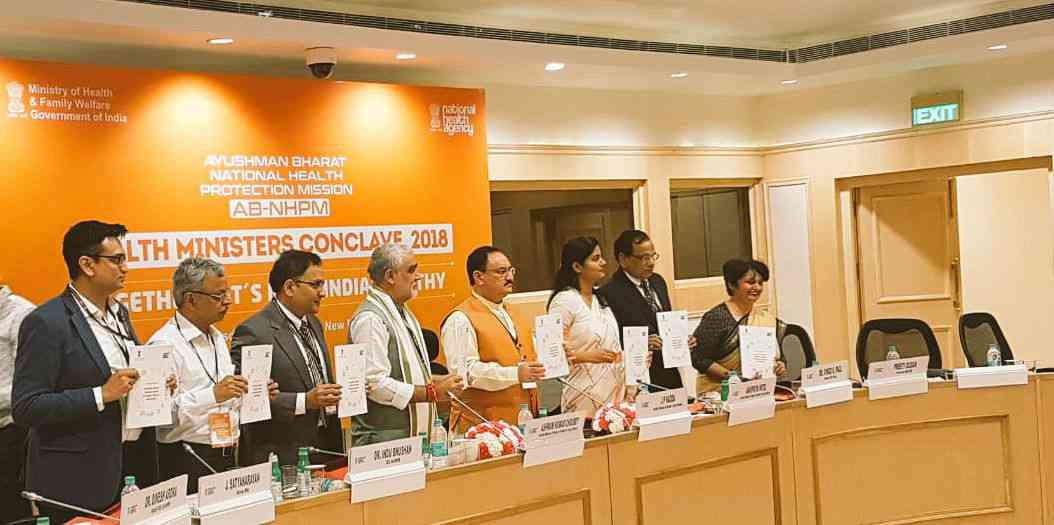 Health Minister JP Nadda unveil guidelines for implementation of Ayushman Bharat – National Health Protection Mission at a health ministers conclave in June. (Photo: National Health Agency/Twitter)