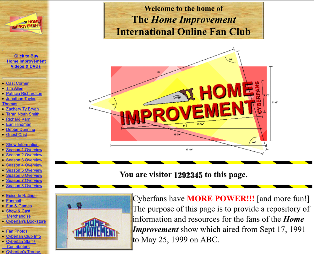 The International Online Fan Club website for the TV show 'Home Improvement'. Photo Credit: Wayback Machine