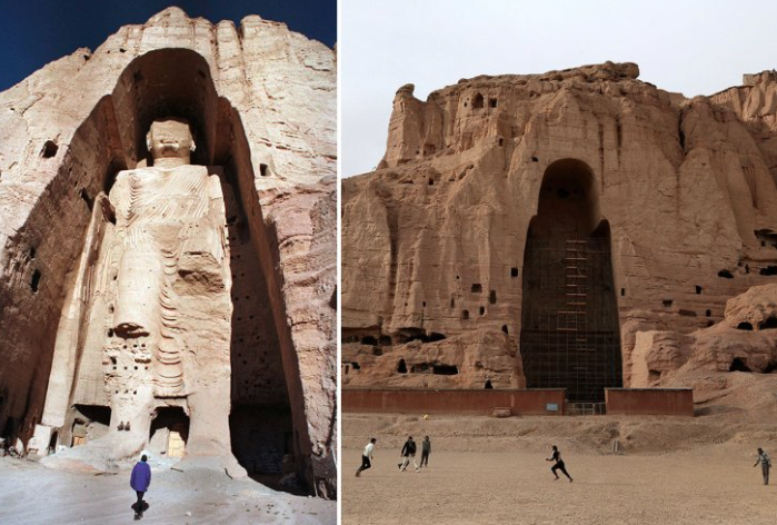 Before and after, the giant Bamiyan Buddha that was destroyed by the Taliban in 2001. (Credit: Reuters / AFP)
