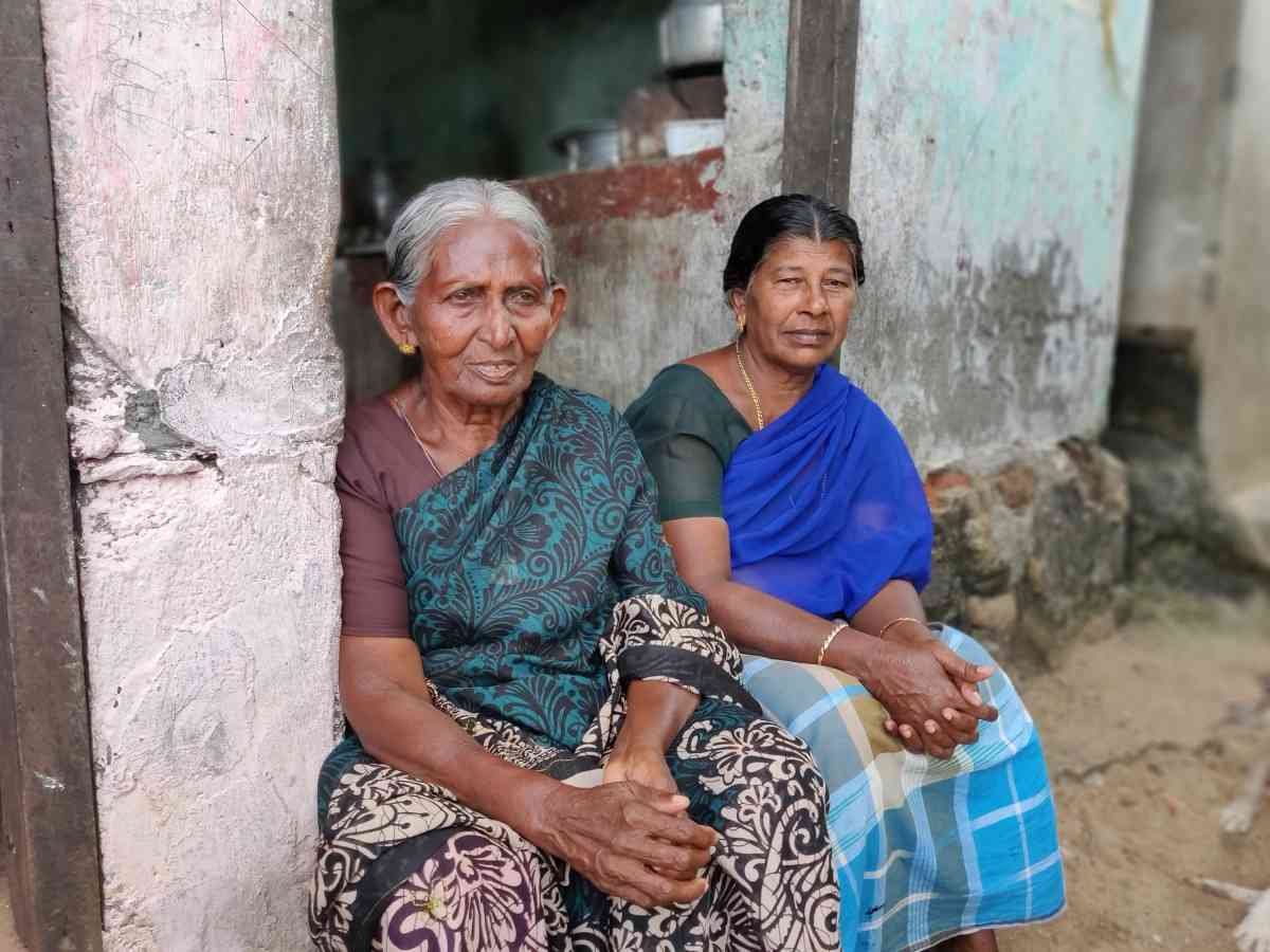 Blasita Pathrose (right) and Albera Anthony in Vizhinjam. Pathrose lost her son Sebastiaradima alias Sebastian and Anthony lost her son Christiadima to Cyclone Ockhi.