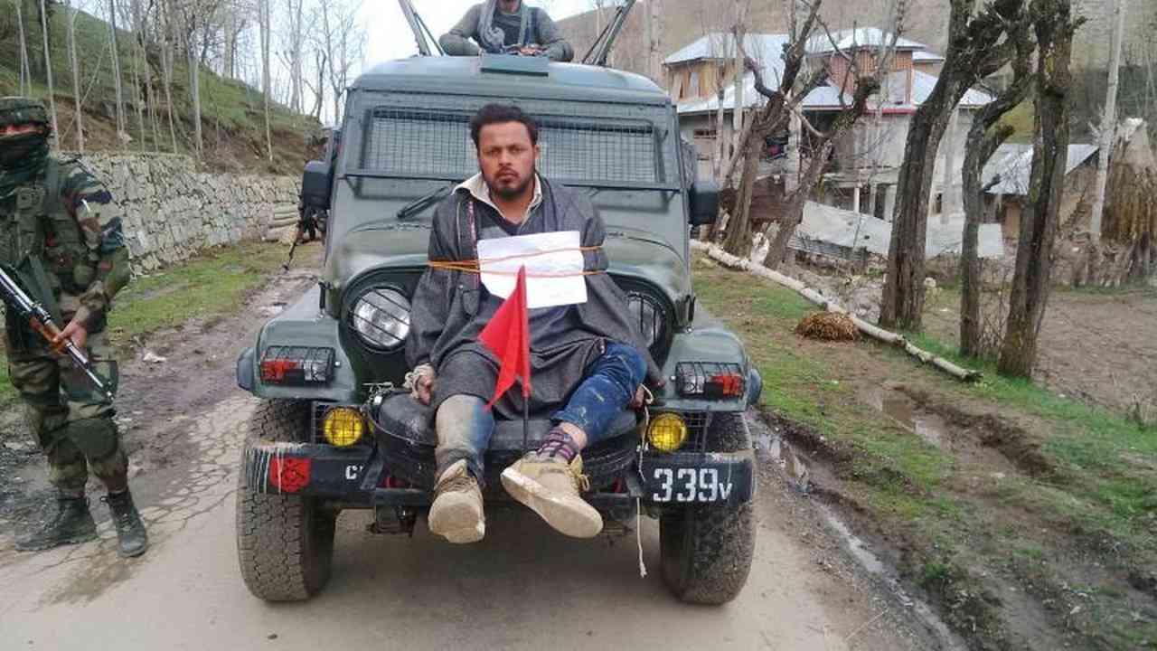 Farooq Ahmad Dar was used as a 'human shield' by the army after he voted in the Srinagar bye-election last year. Photo via YouTube