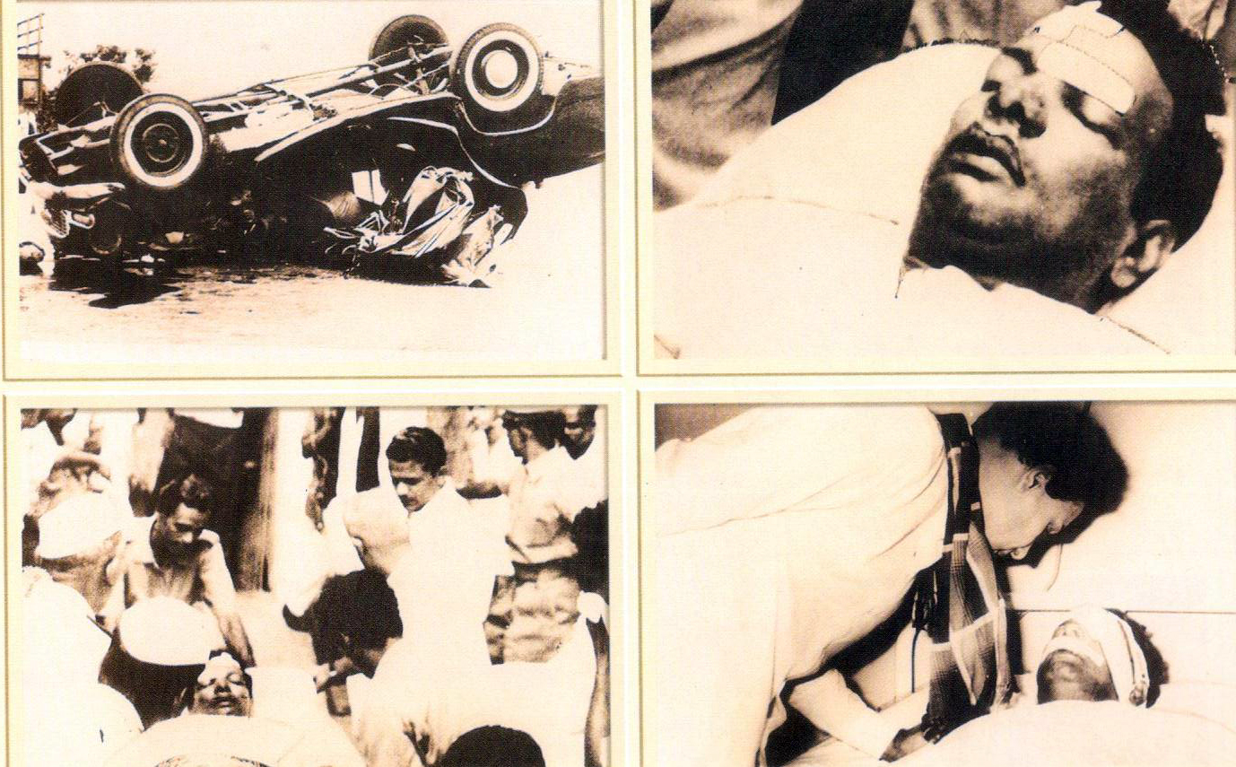 MGR checking on his friend Karunanidhi after the leader was assaulted by Congress cadres during a public meeting.