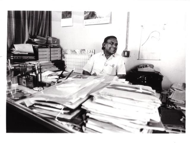 PK Nair photographed at the NFAI in 1987. Photograph by Peter Chappell.