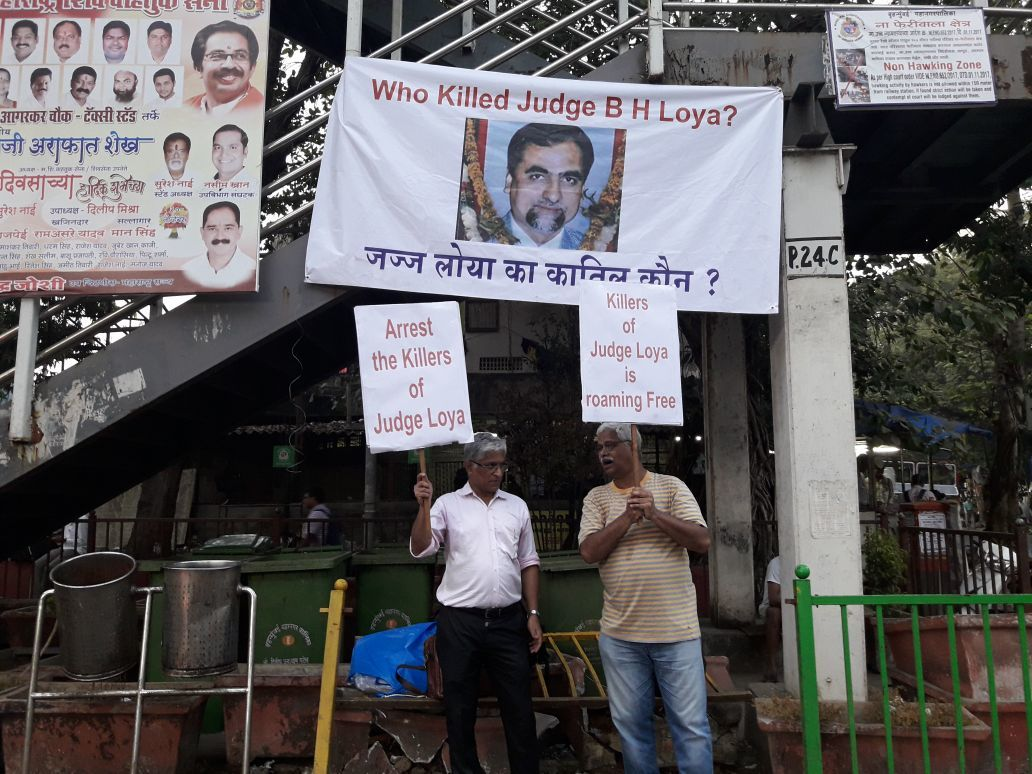 Protestors in Mumbai demand an inquiry into the death of judge BH Loya's death. Credit: Ashok Pai via Twitter