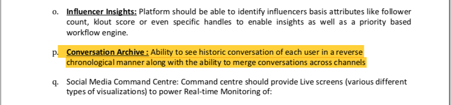 Extract from the tender document issued on behalf of the Ministry of Information and Broadcasting on April 25 for the software and services for creating a 'Social Media Communication Hub'