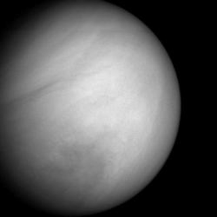 The cloud tops of Venus in natural colour, but with the brightness reduced and the contrast stretched to reveal structure. NASA/Johns Hopkins University Applied Physics Laboratory/Carnegie Institution of Washington