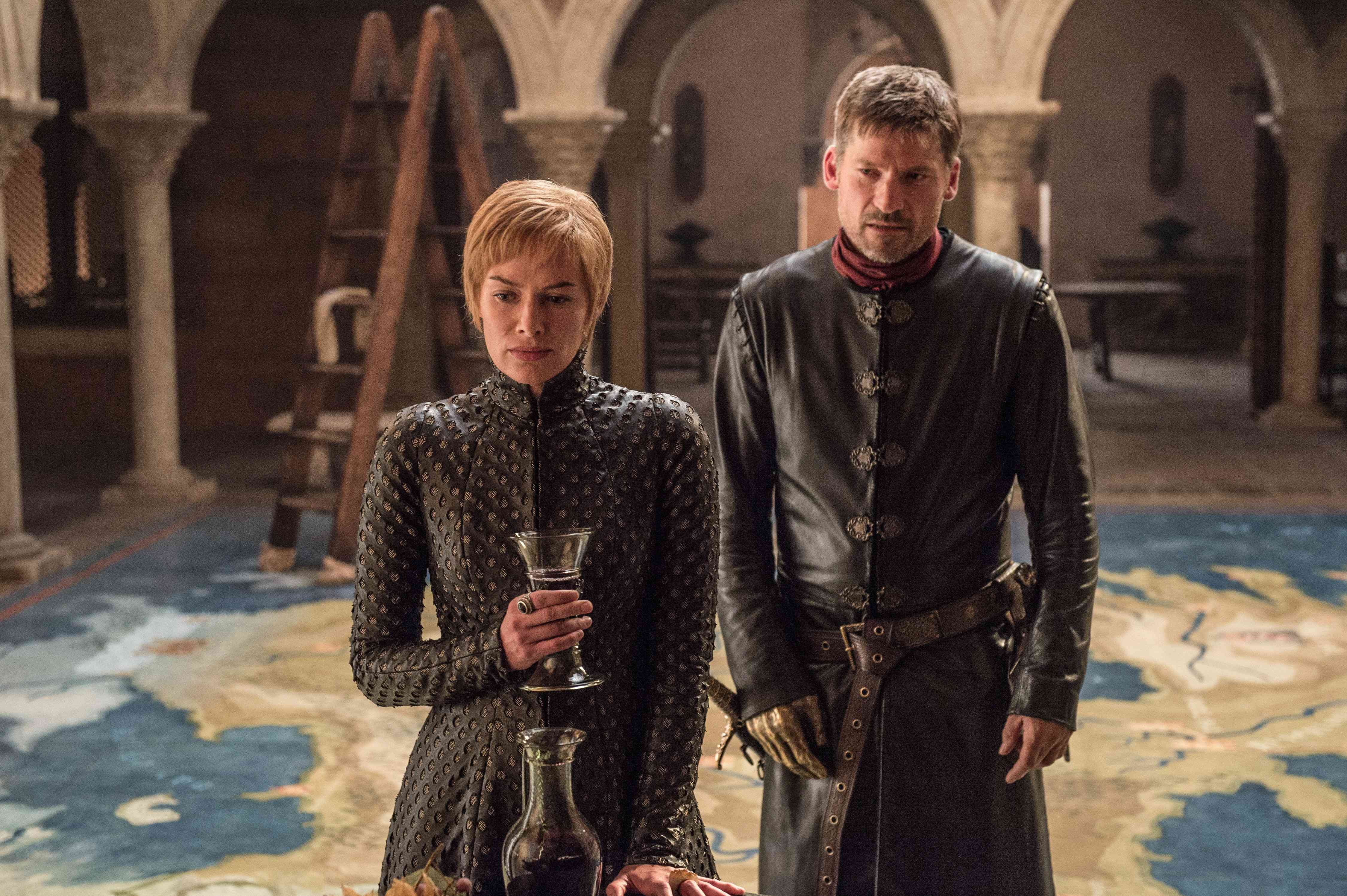 Cersei Lannister (Lena Headey) and Jaime Lannister (Nikolaj Coster-Waldau) in Game of Thrones. Courtesy HBO.