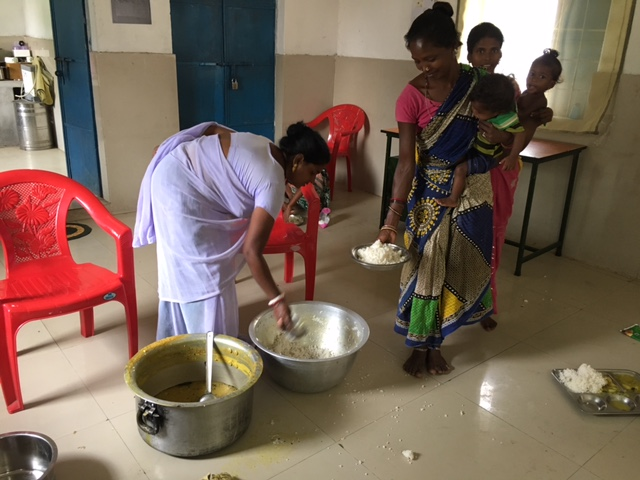 Food being served at the Nutrition Rehabilitation Centre in Malkangiri in Odisha. Photo: Priyanka Vora.