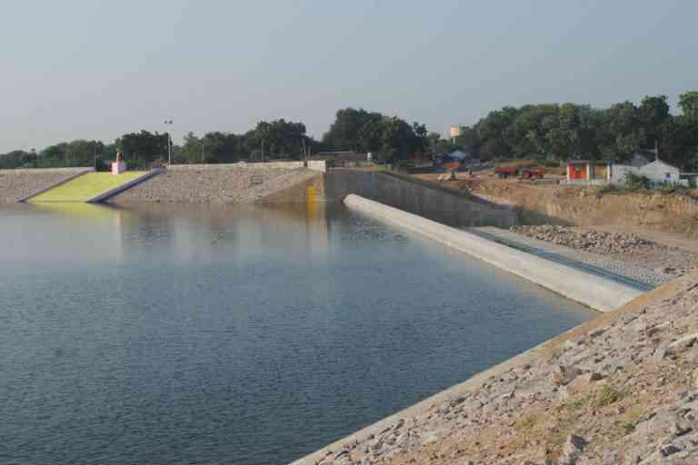 A tank renovated with embankments and spillway. Photo Credit: Meena Menon