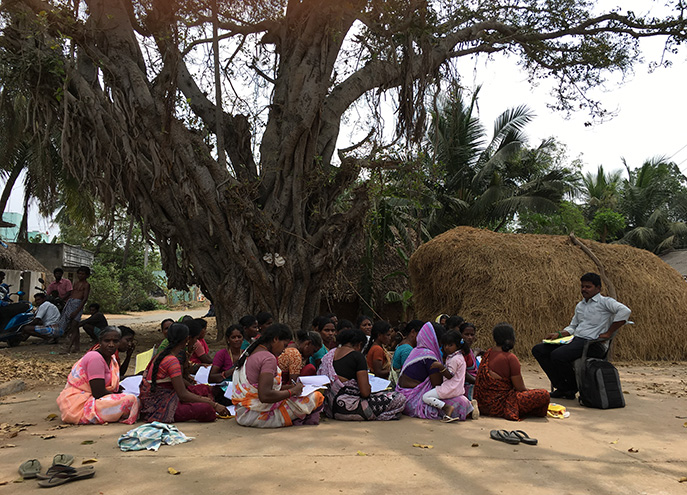 The weekly meeting of microfinance borrowers in a village near Villupuram.