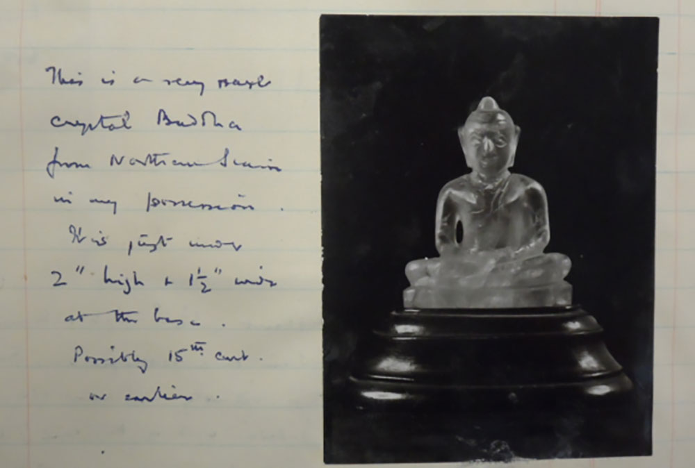 Documentation about a small crystal Buddha statue that Le May collected in the North of Siam. Photo credit: British Library, MSS Eur C275/6