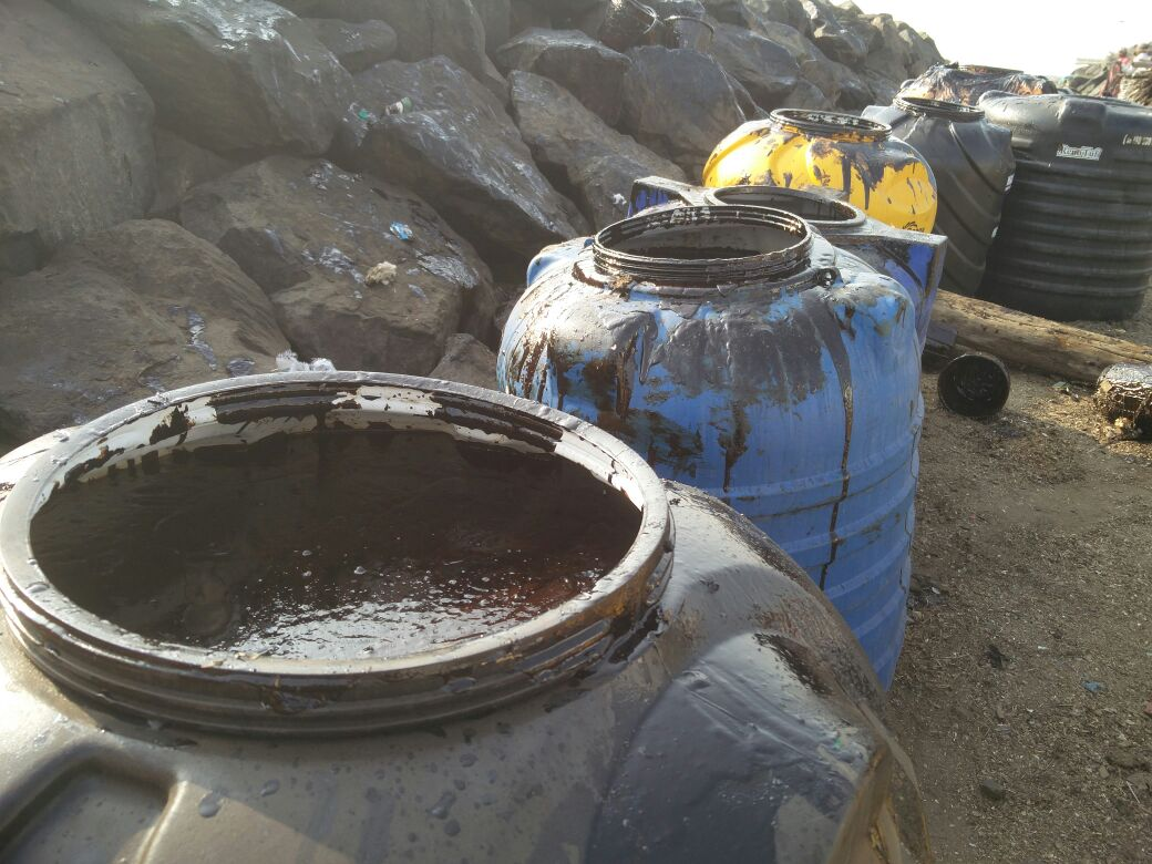 Drums filled with oil collected from the sea.
