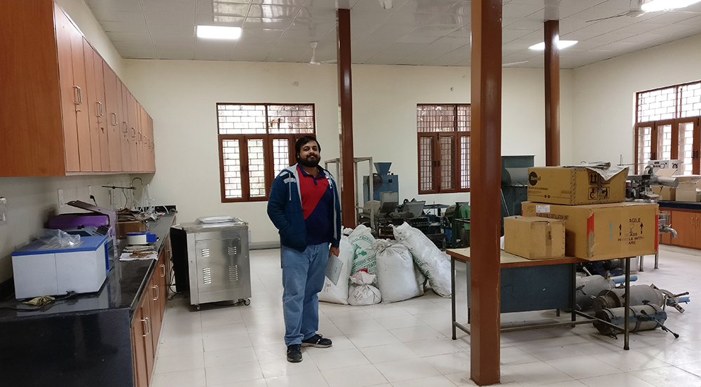 Harmanpreet Singh in a laboratory at the micro-model site.