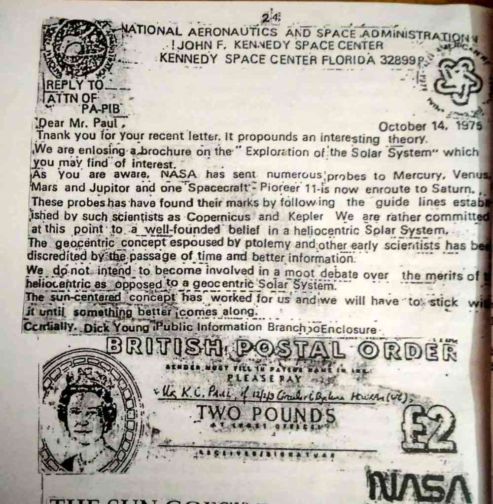Photocopy of first letter received from NASA in 1975, available in Kartik Chandra Paul's booklet. Photo: Devarsi Ghosh.