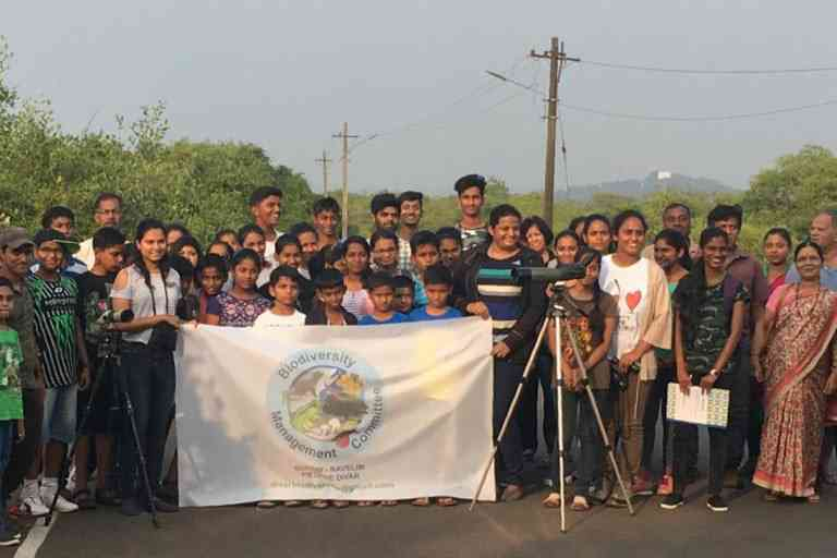 A bird walk organised by the biodiversity management committee in Divar. Photo credit: Hycintha Aguiar.